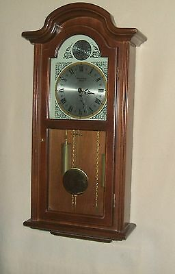 Strausbourg Manor Mahogany Wall Clock with Westminster Chimes and Faux Weights