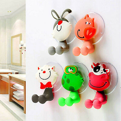 Cartoon Animal Toothbrush Holder Wall Mounted Sucker Bathroom Suction Cup Newly