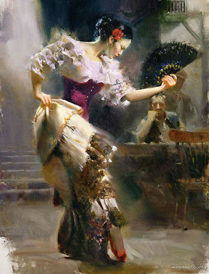 Pino Daeni,Hand-painted Portrait oil Painting On Canvas 24x32#71/Unframed