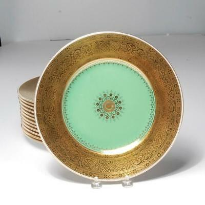 Set Of 14 Minton Gold Encrusted Dinner Plates For Thomas Goode & Co. London