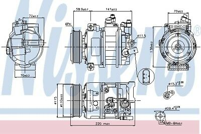 VW GOLF Air Con Compressor 2003 on AC Conditioning 01140562 1K0820859S Nissens