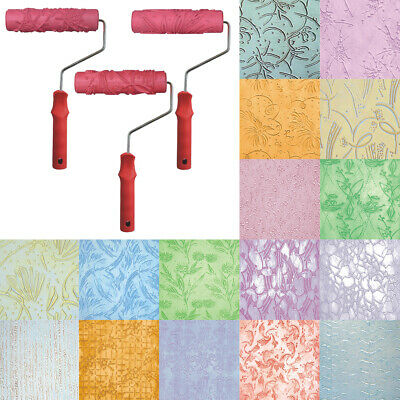 7'' EMBOSSED PAINT Roller Sleeve Wall Texture Stencil Brush
