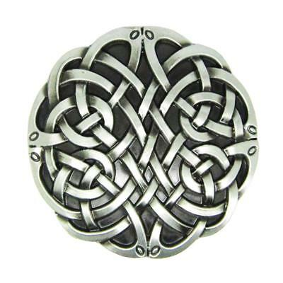 Metal Alloy Belt Buckle Celtic Pattern Round Vintage Cowboy Jewelry Silver