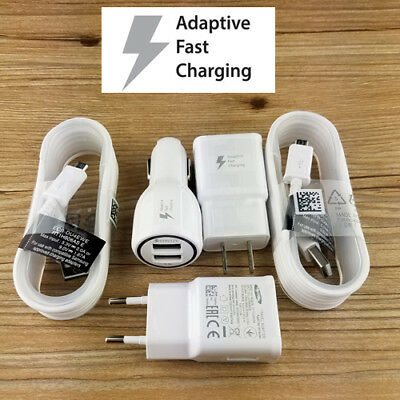 OEM For Samsung Fast Charging Car&Wall Charger+Cable Galaxy S6 S7 edge+ Note 5 4