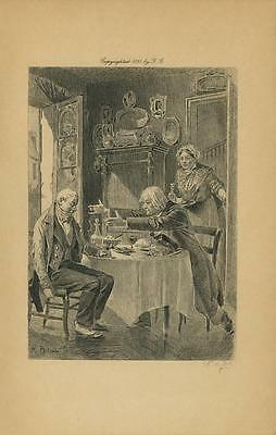 Antique Elderly Man Men Friends Woman Serving Dinner Table Comedy Old Art Print