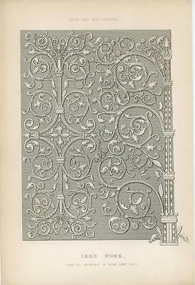 Antique Wrought Iron Work Print Of 13Th Century Design Cathedral Notre Dame Art