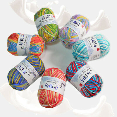 Hand Knitting wool Crochet colorful baby Skin Milk cotton Chunky Yarn 50g lot of