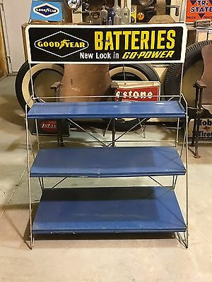 VinTaGe ORIGINAL GOODYEAR BATTERIES Tire Sign Gas OiL RACK Stand REPURPOSE OLD