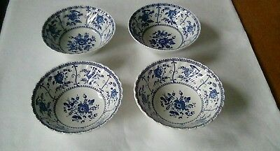 Johnson Bros Indies Blue & White Cereal/Dessert Bowls x 4