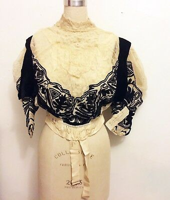 Victorian Edwardian Vintage Bodice Bustier with Velvet, Lace & Cord Embroidery