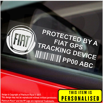 4 x FIAT PERSONALISED GPS Tracking Device-Security Stickers-Alarm-Tracker,Car