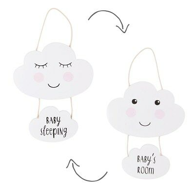 NEW Reversible Baby's Room Baby Sleeping Cloud Plaque Wood White Sass & Belle