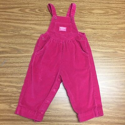 Vintage Corduroy Pink Girl Oshkosh Floral Jumper Overalls Outfit 18 2 2t So cute