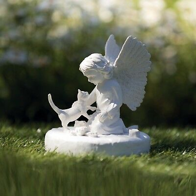 Angel & Cat Statue Memorial loss of your pet for grave keep sake White 38419
