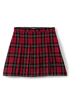 Lands End Kids Uniform Girls Plaid Box Pleat Skirt Top of Knee Red Black - 12