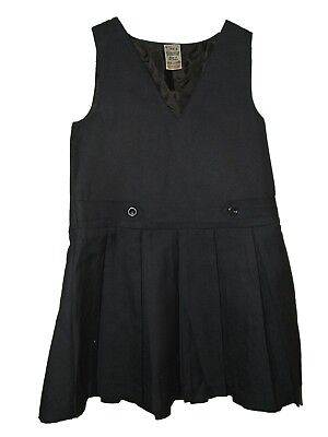 New Girls Ex John Lewis Navy V Neck Pleated Skirt School Pinafore Tunic Age 4-12