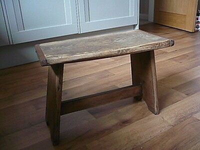 "Old Rustic Cottage Wooden Stool 18 x 9.5"" & 12"" H"