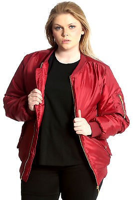 Ladies Plus Size Jacket Womens Padded Bomber Coat Zip Pockets Ribbed Nouvelle