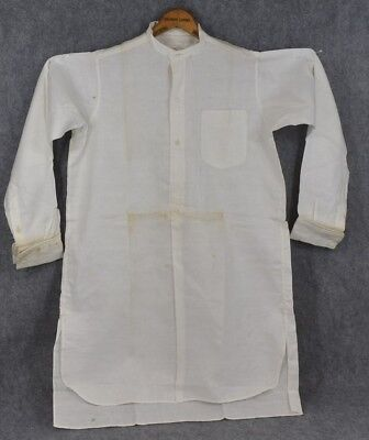 collarless shirt men  cotton French cuffs long tails white antique 1880