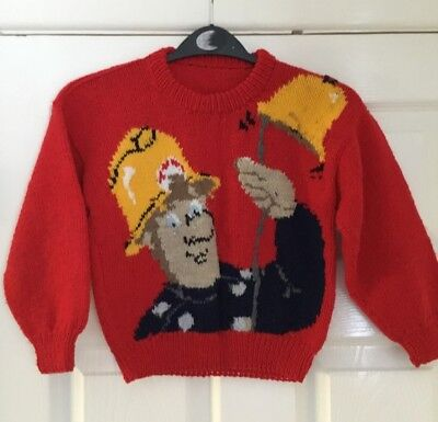 Vintage retro 1990 hand knitted child's picture jumper Fireman Sam on red Age 4