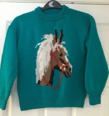 Vintage retro 1990 hand knitted child's picture jumper  Horse pony age 6 / 7
