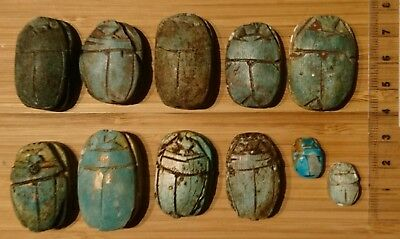 LOT of 11 un-dated fayance scarabs, late period style hieroglyphics, small + big