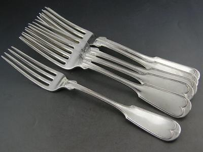 "6 Early Coin Silver 7 3/4"" Dinner Forks GORDON & CO Baltimore MD fiddle thread"