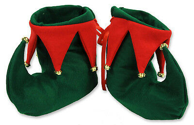 Elf or Jester Adult Christmas Boots Green With Bells