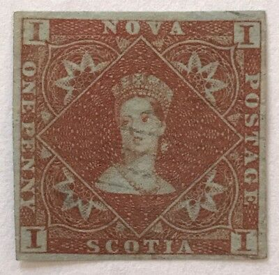 Nova Scotia #1 One Penny Stamp. Queen Victoria. Blue Paper. Used.