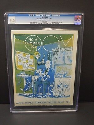 Foom Friends Of Ol' Marvel #6 1974 Cgc 9.0 White Pages Magazine Jarvis Cover