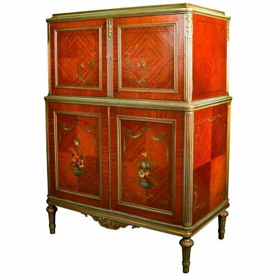Antique Adam Style Classical Hand-Painted and Gilt Carved Satinwood High Chest
