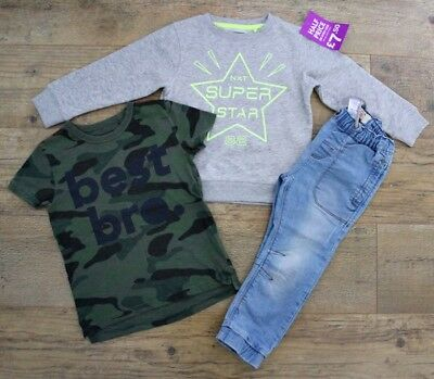 100% Next Boys Bundle Outfit Super Star Jumper Camo T-Shirt Top Jeans Age 3-4 Y