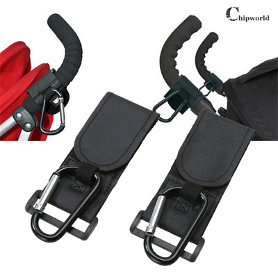2PCS Baby Pushchair Pram Stroller Buggy Hanger Trolley Carabiner Clip Hook Black
