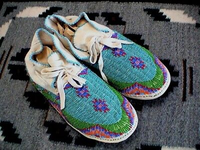 Auth.Native American Indian 70's BrainTanned/Beaded Moccasins/May Ridley, Ute