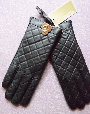 Michael Kors Quilted Leather Hamilton Lock Gloves XL $88