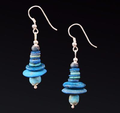 Authentic Egyptian New Kingdom faience jewellery beads reset on silver earrings.