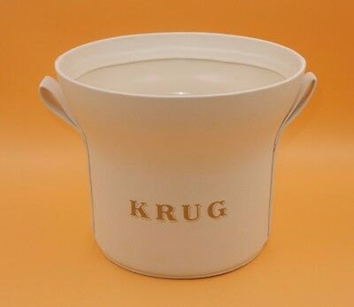 Mint ~ Krug White Leather Exterior Champagne Ice Bucket 2 Handle