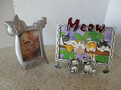 "PICTURE FRAMES, 2 CAT FRAMES, SILVER TONE, PRINTS OF CATS, 4""x5"" & 5""x5"", MEOW"