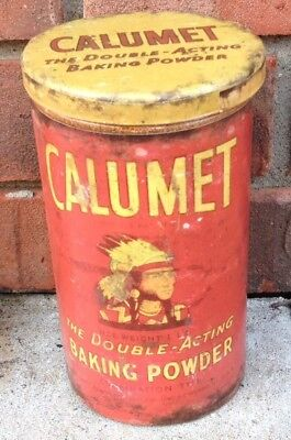 Calumet  Metal Baking Powder Tin  Indian Logo Vintage Antique Style Kitchen LG