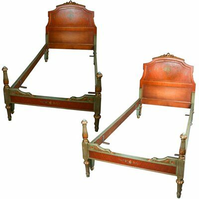 Pair of Adam Style Classical Hand-Painted, Gilt and Carved Satinwood Twin Beds
