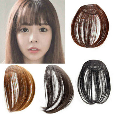 Women Natural Clip On Front Straight Hair Bang Fringe Extensions 14cm 4 Colors