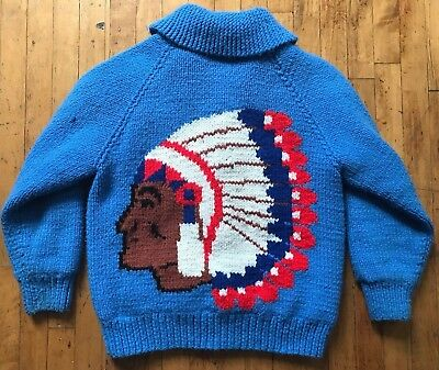 VTG 50's 60's Cowichan Wool Shawl Collar Sweater The Dude Lebowski Indian Chief