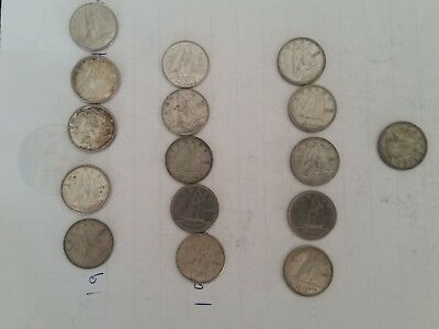 lot of 16 Canadian 10 cent coins misc years from 1942 - 1974