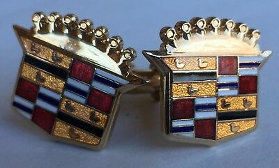 Cadillac Crest Cuff-link Set Old Design gold tone