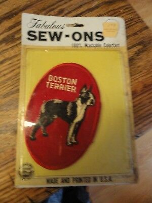 Old BOSTON TERRIER Dog Patch In Original SEW-ON Package