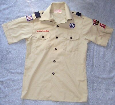 Official BSA Boy Scouts of America Khaki Shirt Youth Large L EUC