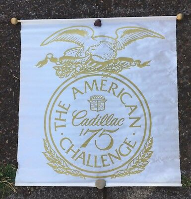 "1975 CADILLAC American Challenge BANNER 36"" x 36"" with pole"