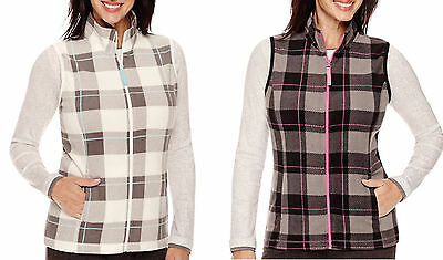 Made For Life Womens Vest Plaid Zipper Polar Fleece Pink Gray Teal Black Ivory