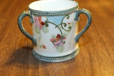 Antique  TYG Loving Cup 3 Handled Porcelain Hand Painted Floral