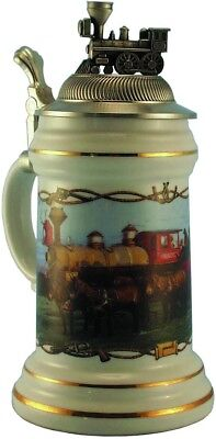 Mules & Iron Horse Porcelain Beer Stein with Pewter Locomotive Train Topper